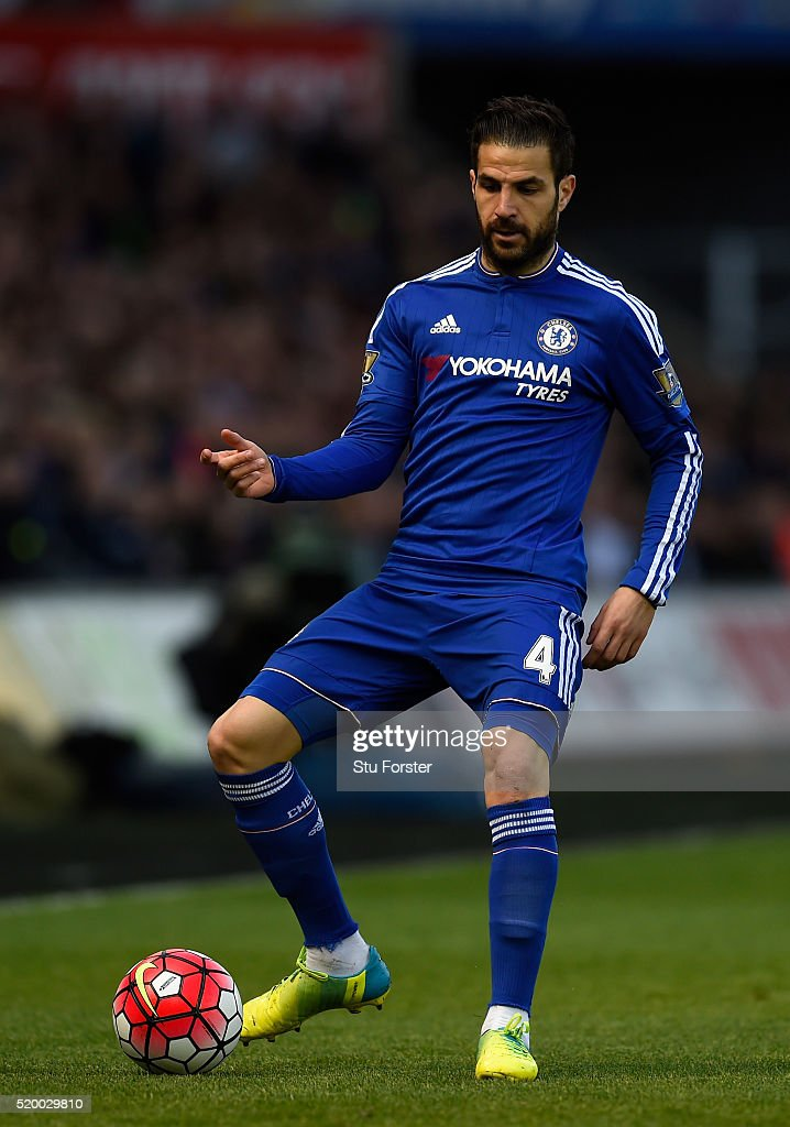 Cesc Fabregas of Chelsea in action during the Barclays Premier League match between Swansea City and Chelsea at Liberty Stadium on April 9, 2016 in Swansea, Wales.