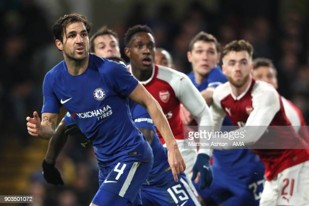 Cesc Fabregas of Chelsea in action during the Carabao Cup SemiFinal first leg match between Chelsea and Arsenal at Stamford Bridge on January 10 2018...