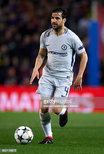 Cesc Fabregas of Chelsea in action during the UEFA Champions League Round of 16 Second Leg match between FC Barcelona and Chelsea FC at Camp Nou on...