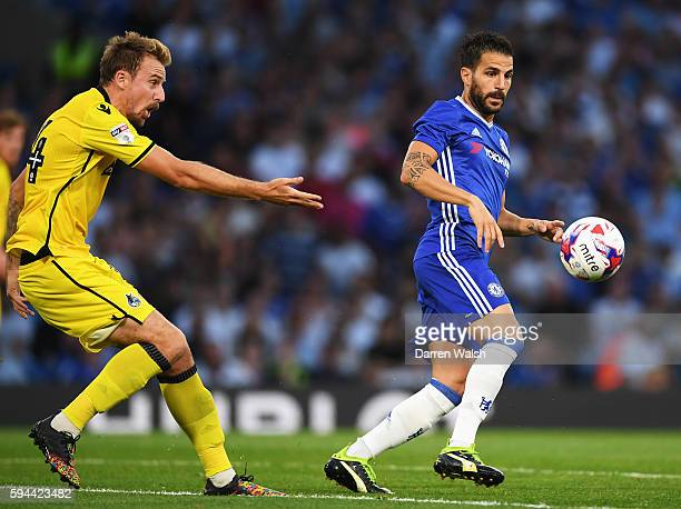 Cesc Fabregas of Chelsea is closed down by Chris Lines of Bristol Rovers during the EFL Cup second round match between Chelsea and Bristol Rovers at...