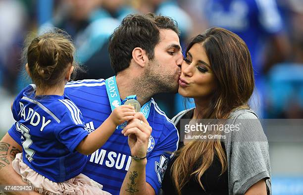 Cesc Fabregas of Chelsea kisses his girl friend Daniella Semaan after the Barclays Premier League match between Chelsea and Sunderland at Stamford...