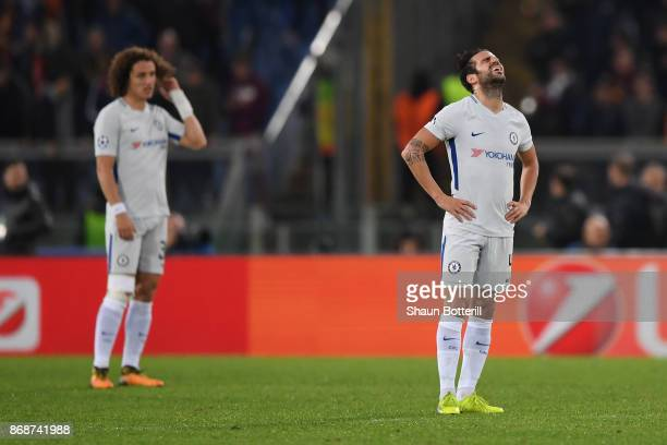 Cesc Fabregas of Chelsea looks dejected during the UEFA Champions League group C match between AS Roma and Chelsea FC at Stadio Olimpico on October...