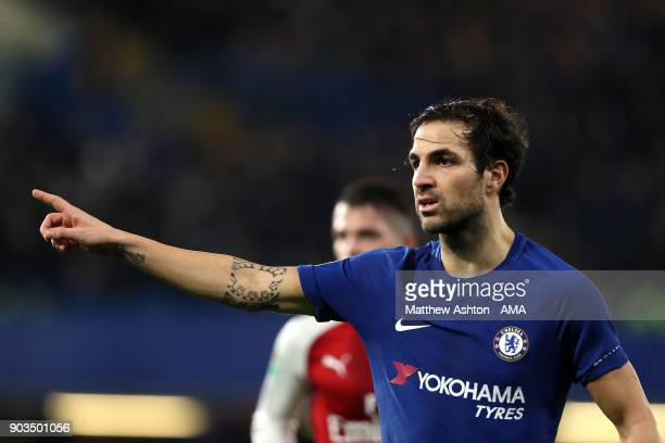 Cesc Fabregas of Chelsea looks on during the Carabao Cup SemiFinal first leg match between Chelsea and Arsenal at Stamford Bridge on January 10 2018...