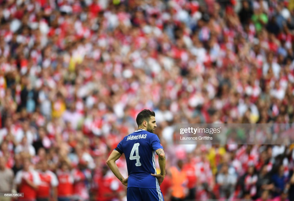 Cesc Fabregas of Chelsea looks on during the Emirates FA Cup Final between Arsenal and Chelsea at Wembley Stadium on May 27, 2017 in London, England.