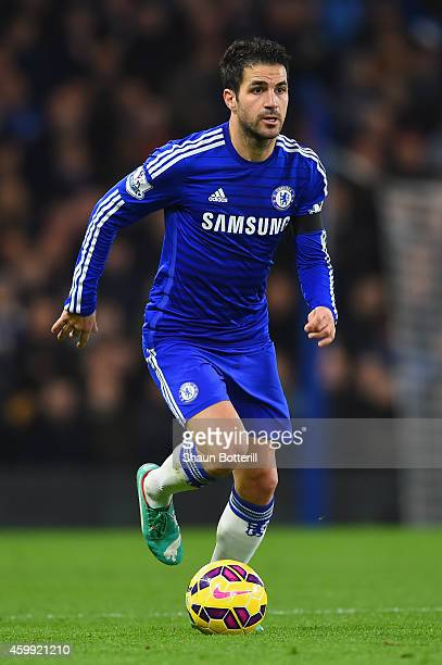 Cesc Fabregas of Chelsea on the ball during the Barclays Premier League match between Chelsea and Tottenham Hotspur at Stamford Bridge on December 3...