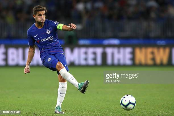 Cesc Fabregas of Chelsea passes the ball during the international friendly between Chelsea FC and Perth Glory at Optus Stadium on July 23 2018 in...