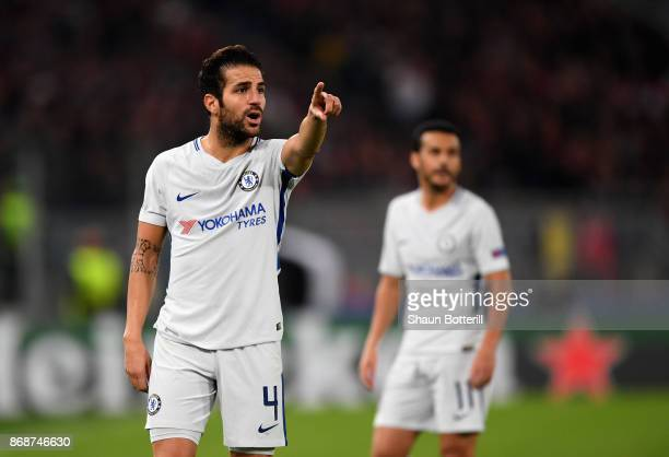 Cesc Fabregas of Chelsea reacts during the UEFA Champions League group C match between AS Roma and Chelsea FC at Stadio Olimpico on October 31 2017...