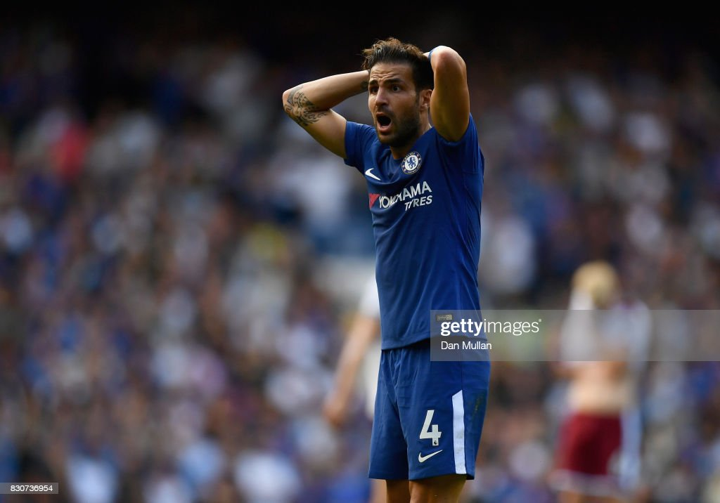 Cesc Fabregas of Chelsea reacts to being sent off during the Premier League match between Chelsea and Burnley at Stamford Bridge on August 12, 2017 in London, England.