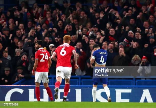 Cesc Fabregas of Chelsea reacts to missing a penalty during the FA Cup Third Round match between Chelsea and Nottingham Forest at Stamford Bridge on...