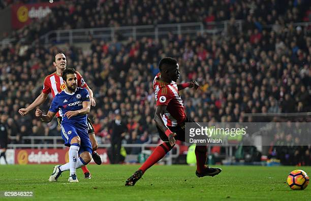 Cesc Fabregas of Chelsea scores his sides first goal during the Premier League match between Sunderland and Chelsea at Stadium of Light on December...