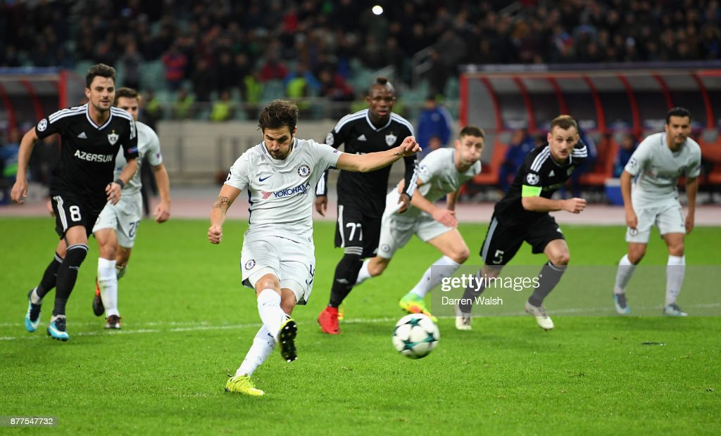 Cesc Fabregas of Chelsea scores his sides third goal from the penalty spot during the UEFA Champions League group C match between Qarabag FK and Chelsea FC at Baki Olimpiya Stadionu on November 22, 2017 in Baku, Azerbaijan.