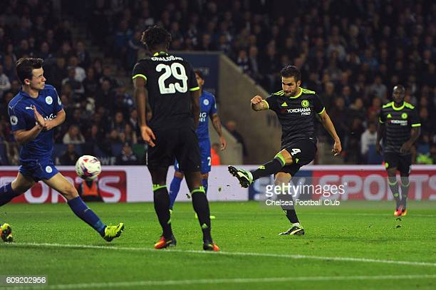 Cesc Fabregas of Chelsea scores his team's fourth goal during the EFL Cup Third Round match between Leicester City and Chelsea at The King Power...