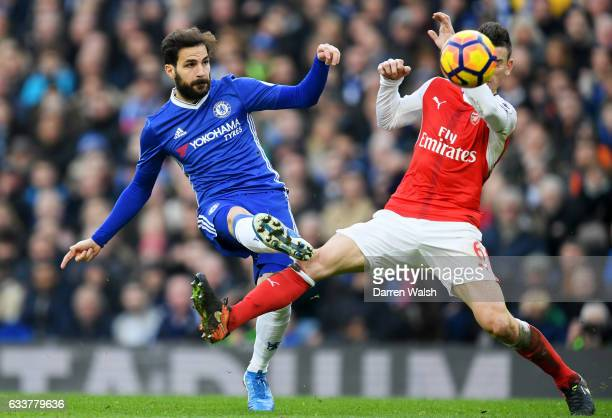 Cesc Fabregas of Chelsea scores his team's third goal during the Premier League match between Chelsea and Arsenal at Stamford Bridge on February 4...
