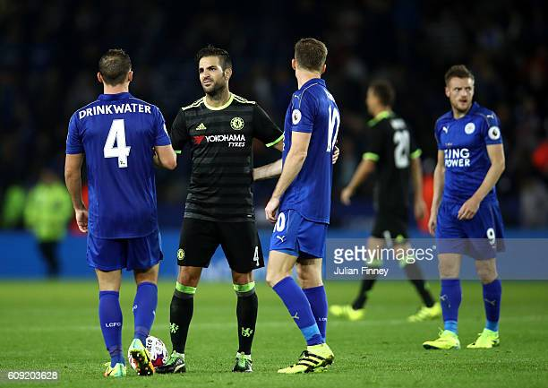 Cesc Fabregas of Chelsea shakes hands with Daniel Drinkwater of Leicester City during the EFL Cup Third Round match between Leicester City and...
