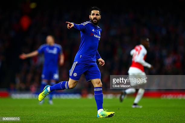 Cesc Fabregas of Chelsea signals during the Barclays Premier League match between Arsenal and Chelsea at Emirates Stadium on January 24 2016 in...
