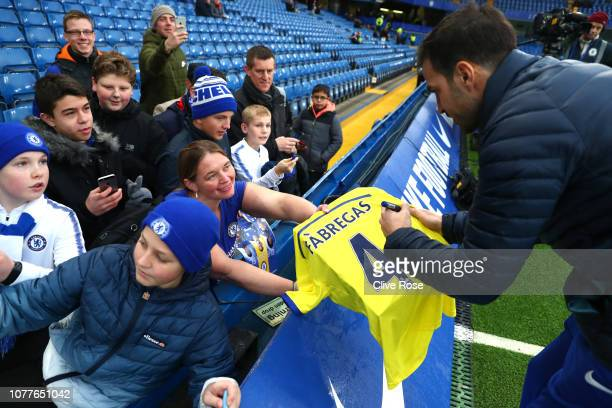 Cesc Fabregas of Chelsea signs autographs prior to the FA Cup Third Round match between Chelsea and Nottingham Forest at Stamford Bridge on January 5...