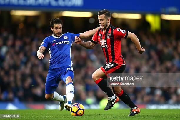 Cesc Fabregas of Chelsea tackles Jack Wilshere of AFC Bournemouth during the Premier League match between Chelsea and AFC Bournemouth at Stamford...