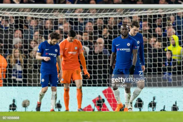 Cesc Fabregas of Chelsea Thibaut Courtois of Chelsea Victor Moses of Chelsea and Andreas Christensen of Chelsea looks dejected during the UEFA...