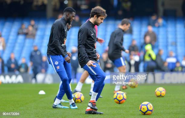 Cesc Fabregas of Chelsea warms up at Stamford Bridge ahead of the Premier League match between Chelsea and Leicester City at Stamford Bridge on...