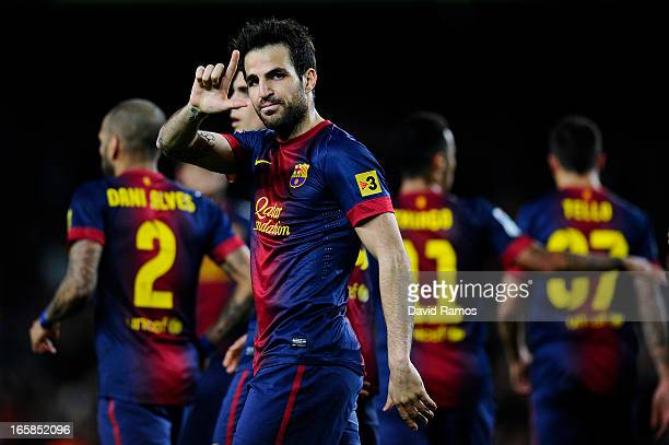 Cesc Fabregas of FC Barcelona celebrates after scoring his team's third goal during the La Liga match between FC Barcelona and RCD Mallorca at Camp...
