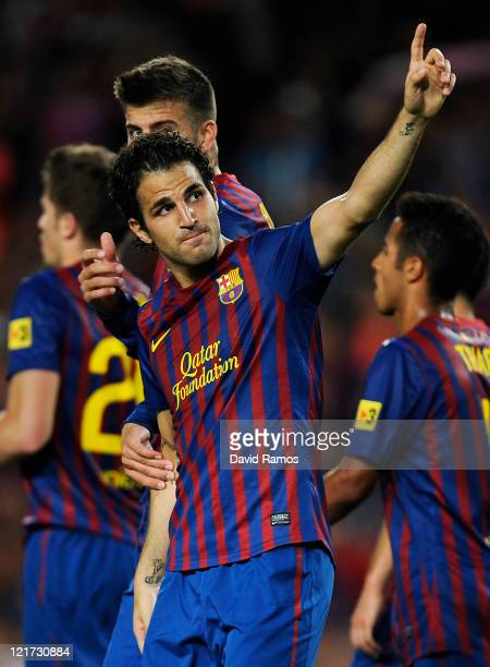 Cesc Fabregas of FC Barcelona celebrates after scoring the opening goal during the Joan Gamper Trophy match between FC Barcelona and SSC Napoli at...