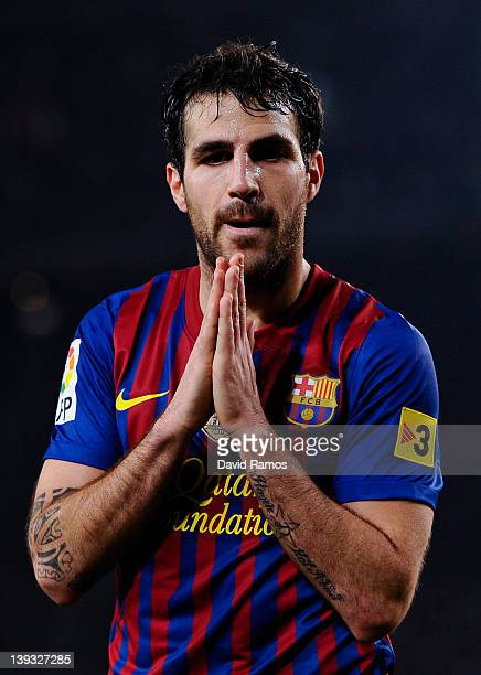 Cesc Fabregas of FC Barcelona reacts after missing a chance to score during the La Liga match between FC Barcelona and Valencia CF at Camp Nou...