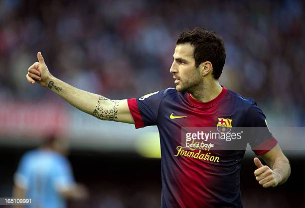 Cesc Fabregas of FC Barcelona reacts during the La Liga match between RC Celta de Vigo and FC Barcelona at Estadio Balaidos on March 30 2013 in Vigo...