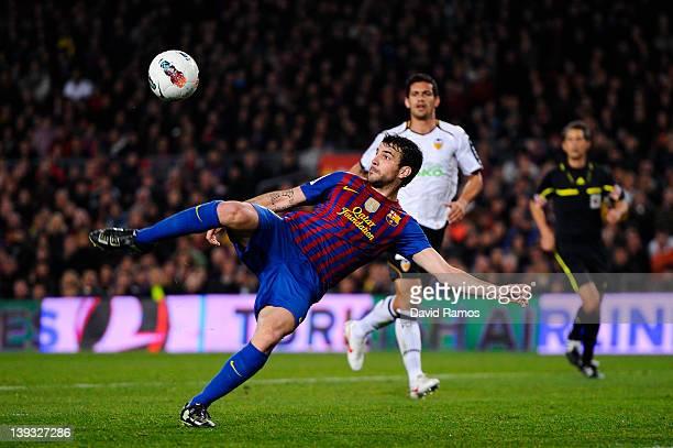 Cesc Fabregas of FC Barcelona shoots towards goal during the La Liga match between FC Barcelona and Valencia CF at Camp Nou stadium on February 19...