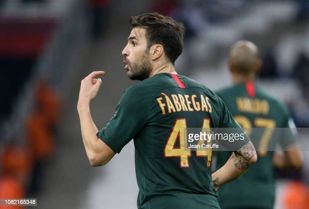 Cesc Fabregas of Monaco during the french Ligue 1 match between Olympique de Marseille and AS Monaco at Stade Velodrome on January 13, 2019 in...