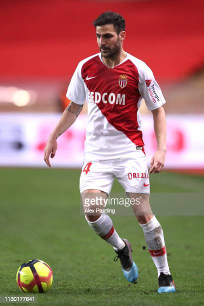 Cesc Fabregas of Monaco runs with the ball during the Ligue 1 match between AS Monaco and FC Nantes at Stade Louis II on February 16 2019 in Monaco...