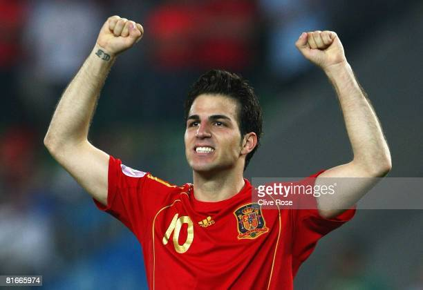Cesc Fabregas of Spain celebrates after he scores the winning penalty in the shoot out during the UEFA EURO 2008 Quarter Final match between Spain...