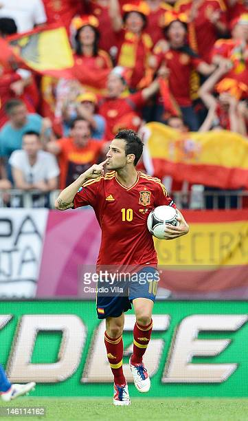 Cesc Fabregas of Spain celebrates scoring their first goal during the UEFA EURO 2012 group C match between Spain and Italy at The Municipal Stadium...