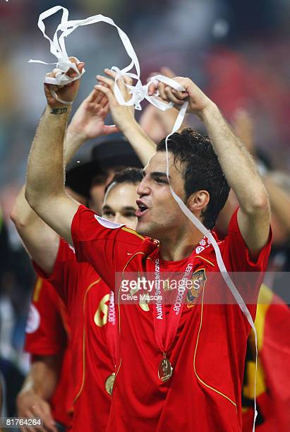 Cesc Fabregas of Spain celebrates victory after the UEFA EURO 2008 Final match between Germany and Spain at Ernst Happel Stadion on June 29 2008 in...