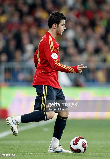 Cesc Fabregas of Spain controls the ball during the Euro 2008 Group F qualifying match between Spain and Sweden at the Santiago Bernabeu Stadium on...