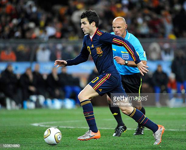 Cesc Fabregas of Spain during the 2010 FIFA World Cup Final between the Netherlands and Spain on July 11 2010 in Johannesburg South Africa Spain won...