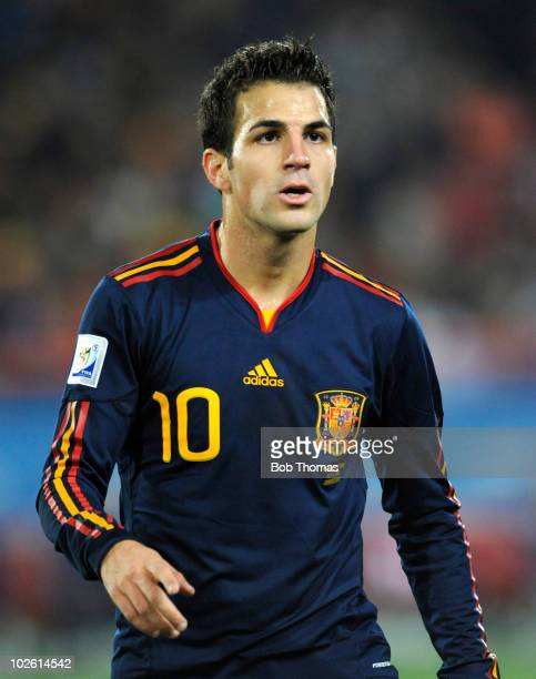 Cesc Fabregas of Spain during the 2010 FIFA World Cup South Africa Quarter Final match between Paraguay and Spain at Ellis Park Stadium on July 3...