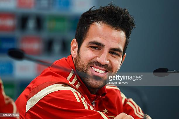 Cesc Fabregas of Spain faces the media during a Spain press conference at Centro de Entrenamiento do Caju on June 15 2014 in Curitiba Brazil