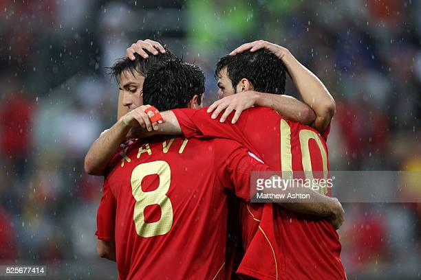 Cesc Fabregas of Spain gets congratulated after scoring to make it 41 during the Group D Euro 2008 match between Spain and Russia at the Tivoli NEU...