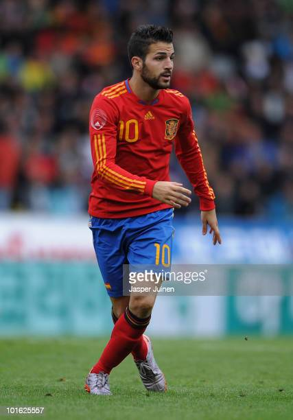 Cesc Fabregas of Spain in action during the International Friendly match between Spain and South Korea at Stadion Tivoli Neu on June 3 2010 in...