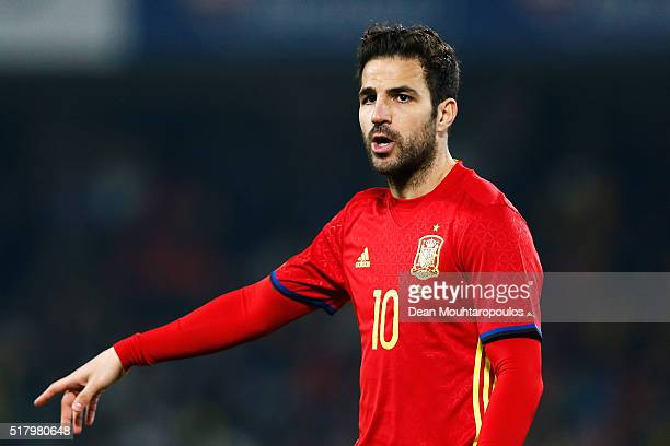 Cesc Fabregas of Spain in action during the International Friendly match between Romania and Spain held at the Cluj Arena on March 27 2016 in...