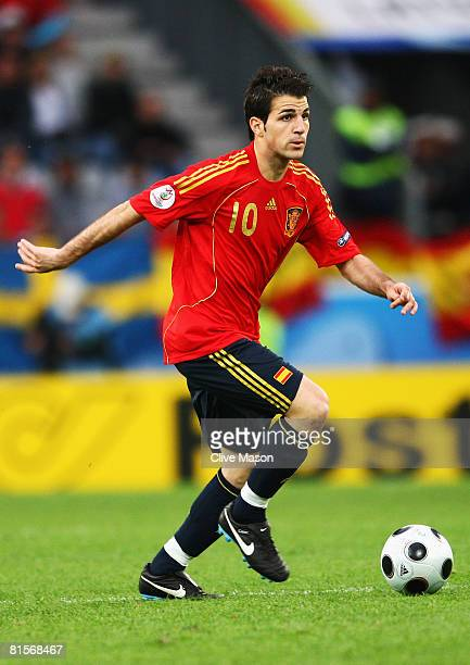 Cesc Fabregas of Spain in action during the UEFA EURO 2008 Group D match between Sweden and Spain at Stadion Tivoli Neu on June 14 2008 in Innsbruck...