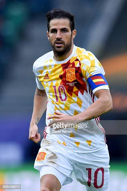 Cesc Fabregas of Spain looks on during an international friendly match between Spain and Bosnia at the AFG Arena on May 29 2016 in St Gallen...