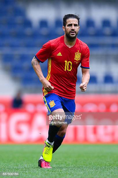 Cesc Fabregas of Spain looks on during an international friendly match between Spain and Korea at the Red Bull Arena stadium on June 1 2016 in...