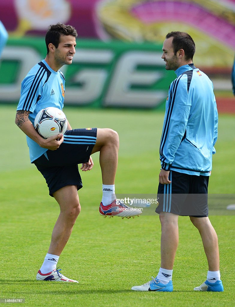 Cesc Fabregas (L) of Spain stands with his teammate Andres Iniesta during a training session ahead of their UEFA EURO 2012 group C match against Croatia on June 17, 2012 in Gniewino, Poland.