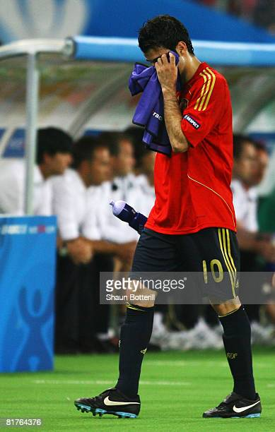 Cesc Fabregas of Spain walks off after being substituted during the UEFA EURO 2008 Final match between Germany and Spain at Ernst Happel Stadion on...