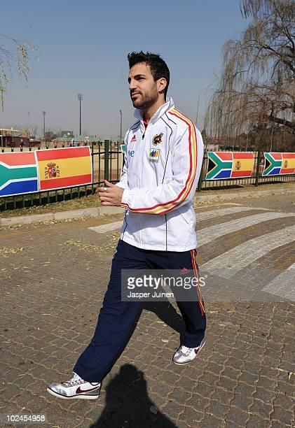 Cesc Fabregas of Spain walks on the team hotel premises on June 27 2010 in Potchefstroom South Africa