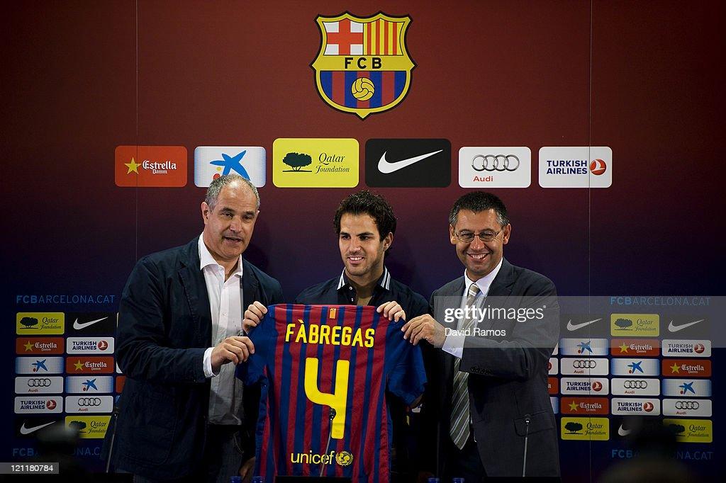 Barcelona FC Unveils New Signing Cesc Fabregas : News Photo