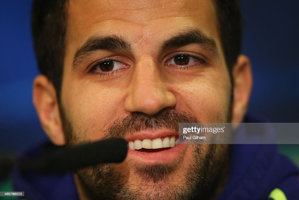 Cesc Fabregas smiles during a Chelsea press conference ahead of the UEFA Champions League Round of 16 second leg match against Paris Saint-Germain at Stamford Bridge on March 10, 2015 in London, England.