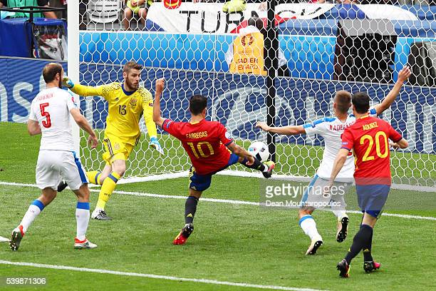 Cesc Febregas of Spain clears the ball during the UEFA EURO 2016 Group D match between Spain and Czech Republic at Stadium Municipal on June 13 2016...