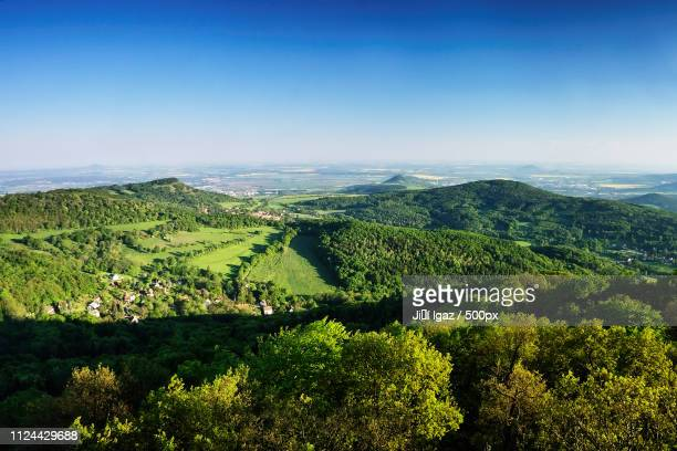 Ceske Stredohori Tourist Area With Hill Kamyk And Litomerice City On Horizont And Kundratice...